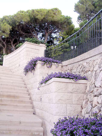 bahaullah: The stone staircase in Bahai Gardens in Haifa, August 11, 2003 Stock Photo