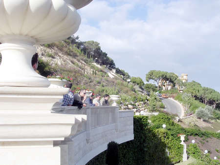 baha: Visitors in Bahai Gardens in Haifa, December 15, 2003