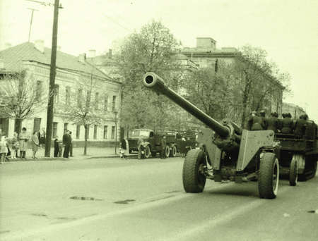 The cannon on military parade in Kiev, Ukraine, May 1, 1964