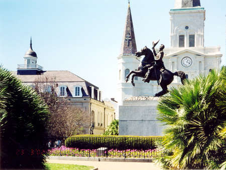 Saint Louis Cathedral and statue of Andrew Jackson in New Orleans, USA, March, 2002