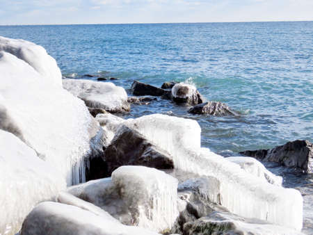 Glacial landscape on a shore of the Lake Ontario in Toronto, Canada, January 6, 2017 Stock Photo