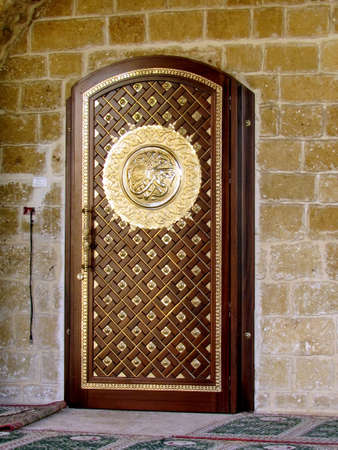 jaffa: Door of Mahmoudiya Mosque in old city Jaffa, Israel, November 9, 2011