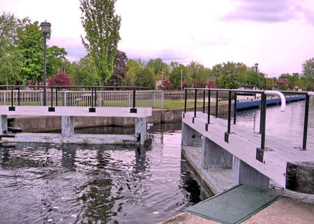 rideau canal: The Lock on the Rideau Canal in Smiths Falls, Canada, May 18, 2008 Stock Photo