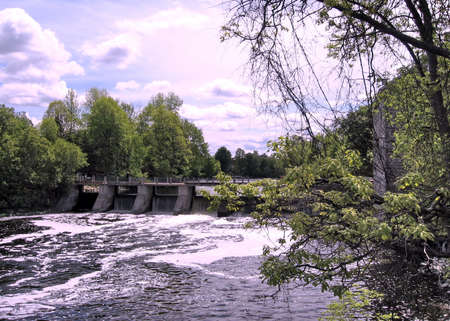 gristmill: Dam on the Rideau River near Watsons Mill in Manotick, Canada, May 18, 2008