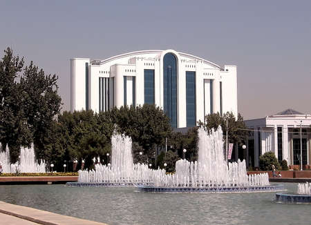 Fountains of the Independence Square in the city of Tashkent, the capital of Uzbekistan