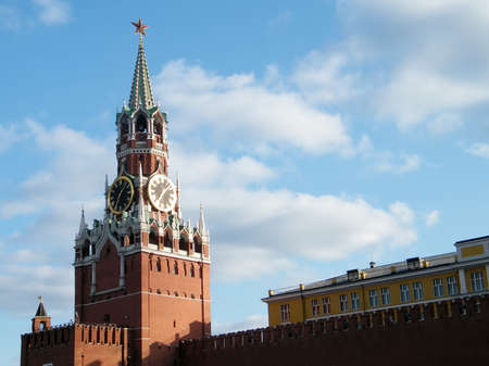 Spasskaya Tower of Moscow Kremlin at sunset in Moscow, Russia