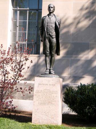 oxidized: Statue of Revolutionary War Hero, Nathan Hale  in Washington DC, USA