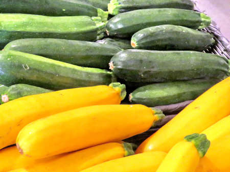 Yellow and green zucchini on market in Markham, Canada, July 22, 2017 Stock Photo