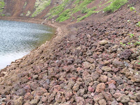 The volcanic rocks of crater Kerid in South Iceland, July 5, 2017