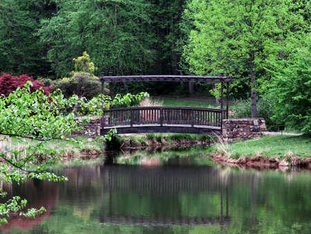 Bridge In Meadowlark Botanical Garden In Vienna, Virginia, USA