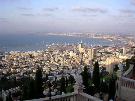 View from Bahai Gardens to port on coast of Haifa Bay by Mediterranean Sea in Haifa, Israel , August 11, 2003 Stock Photo