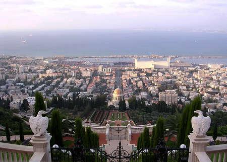 View of Bahai Gardens and port on coast of Haifa Bay by Mediterranean Sea in Haifa, Israel , August 11, 2003