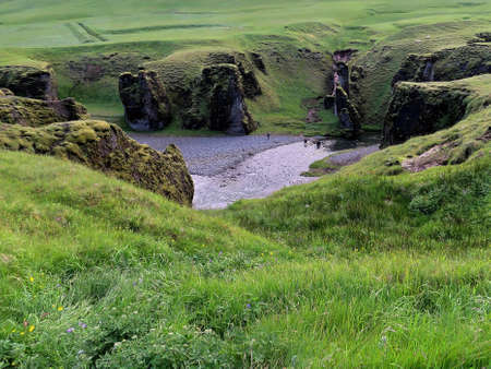 View of the Fjadrargljufur Canyon in Iceland, July 6, 2017 Stock fotó