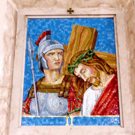 2nd Station of the Cross (Jesus accepts his cross) in St Paschal Baylon Church in Thornhill, Canada, March 2, 2018