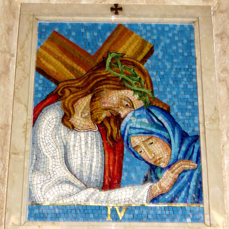 4st Station of the Cross (Jesus meets his mother, Mary) in St Paschal Baylon Church in Thornhill, Canada, March 2, 2018
