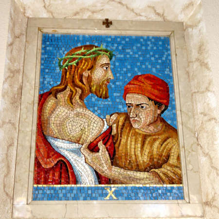10st Station of the Cross (Jesus is stripped of his clothes) in St Paschal Baylon Church in Thornhill, Canada, March 2, 2018