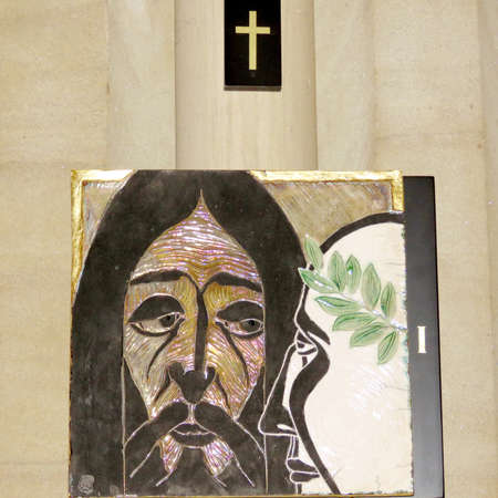 1st Station of the Cross (Pilate condemns Jesus to die) into St James Anglican Cathedral in Toronto, Canada, October 4, 2016