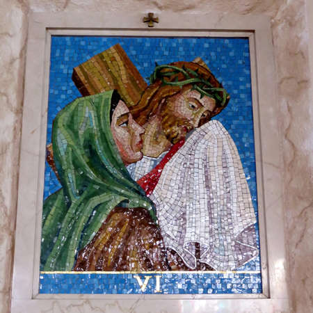 The 6st Station of the Cross (Veronica wipes the face of Jesus) in St Paschal Baylon Church in Thornhill, Canada, March 2, 2018
