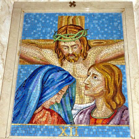 The 12st Station of the Cross (Jesus is taken down from the cross) in St Paschal Baylon Church in Thornhill, Canada, March 2, 2018