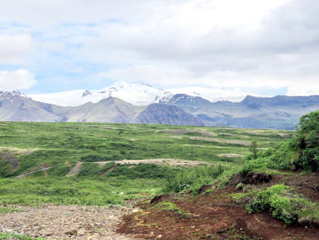 The view of Hvannadalshnukur mountains in South Iceland, July 7, 2017