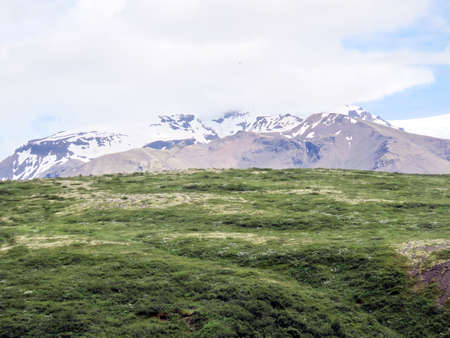 View of Hvannadalshnukur mountain in South Iceland, July 7, 2017