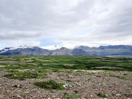 View of the Hvannadalshnukur mountains in South Iceland, July 7, 2017