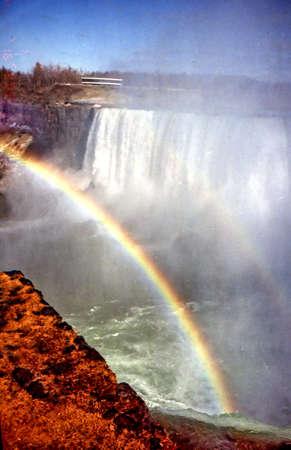 Rainbow and Canadian Falls in Niagara Falls, Canada, March 16, 2002  Sajtókép