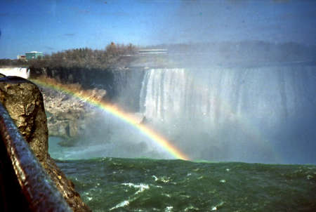Rainbow and Falls in Niagara Falls, Canada, March 16, 2002  Sajtókép