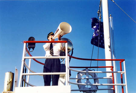 Captain of the steamer in New Orleans, USA, March 24, 2002