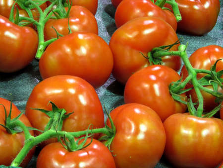 Red tomatoes on market in Thornhill, Canada, March 26, 2018