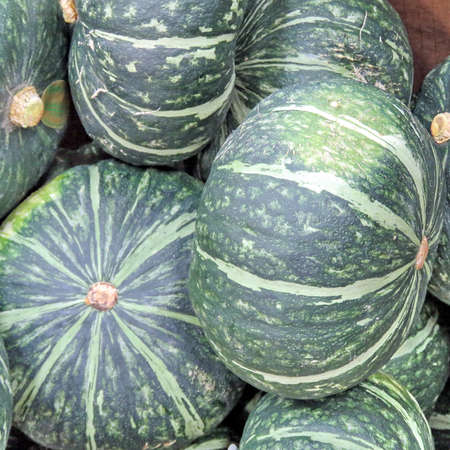 Buttercup squash on market in Thornhill, Canada, May 4, 2018