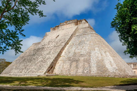 The pyramid of a wizard in the ancient city of Maya Uxmal.