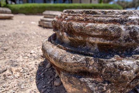 The base of the ancient column of the historic city of Ziporyn, a national park, Israel. Tourism and travel