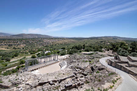 View of the ancient amphitheater in the historic city of Zipory, National Park, Israel. Tourism and travel