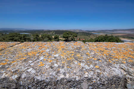 View of the mountains of Galilee through the lichen-covered stones of the ancient city of Zippori. Israel. Tourism and travel