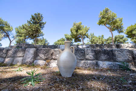 Antique amphoras in the ancient city of Zipori. Israel. Tourism and travel