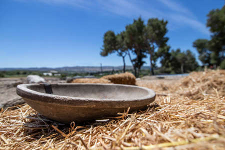 Antique wooden bowl lying on golden straw in the ancient city of Zipori. Israel. Tourism and travel
