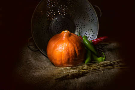 Orange pumpkin, red and green chilli peppers and dry wheat coats laying on sackcloth on a metal cup background Reklamní fotografie