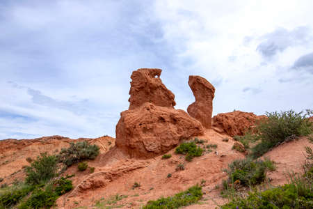 Sandstone formations in the fairy tale gorge against a cloudy sky with flowers in the foreground. Tourism Kyrgyzstan