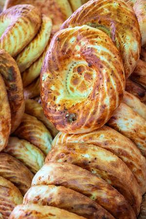 Fresh Oriental Tandoor Flatbreads closeup at the Market