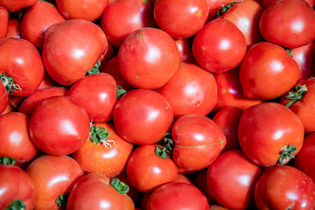 Red ripe tomatoes close-up at the market