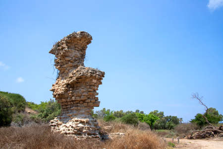 The ruins of an ancient fortification located in the Ashkelon National park. Israel Stock Photo