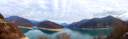 Picturesque panorama of the Zhinvali reservoir in winter. Georgia