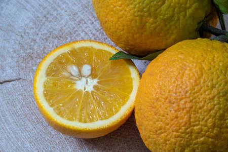 Still life. Half and whole ripe orange fruits close up