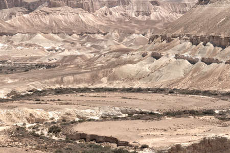 The Negev Desert. View of the limestone mountains of Qing gorge Фото со стока