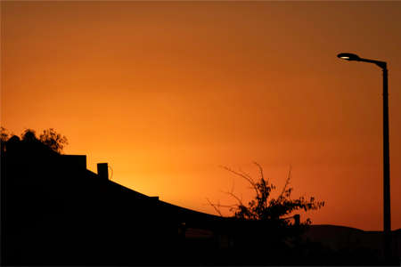 Silhouettes of the houses and trees on the background of the colorful sunset sky