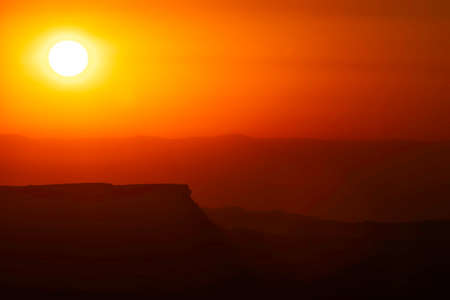 Colorful sunrise over Ramon Crater in the Negev Desert Israel