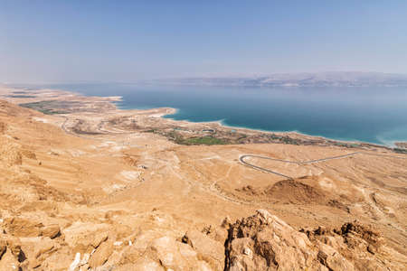 Top view of the Dead Sea and Jordan Mountains from Israel. Mitsukei Dragot