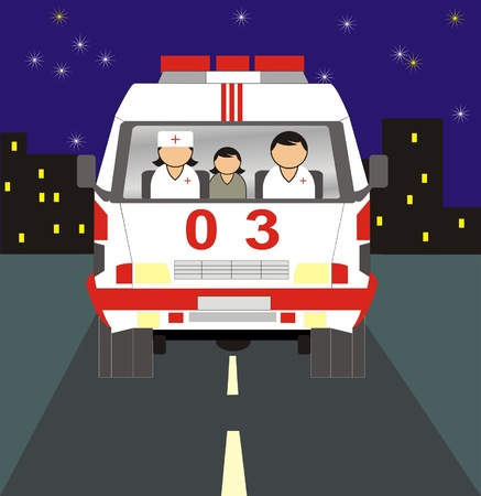 car ambulance vector whis people on road Vector
