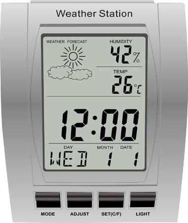 digital thermometer: stazione meteo orologio vettoriale isolato meteorologia